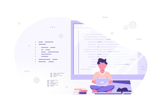 코딩, 프로그래밍, 응용 프로그램 개발 개념. 백인 남자 프로그래머는 큰 컴퓨터 화면에 앉아서 작업합니다. 평면 스타일 배너 디자인