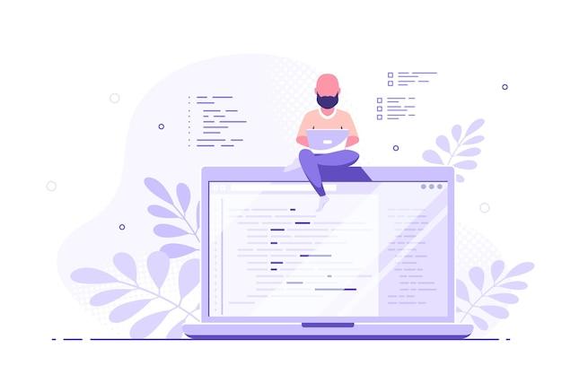 코딩, 프로그래밍, 응용 프로그램 개발 개념. 백인 남자 프로그래머는 큰 노트북에 앉아서 작업합니다. 평면 스타일 배너 디자인