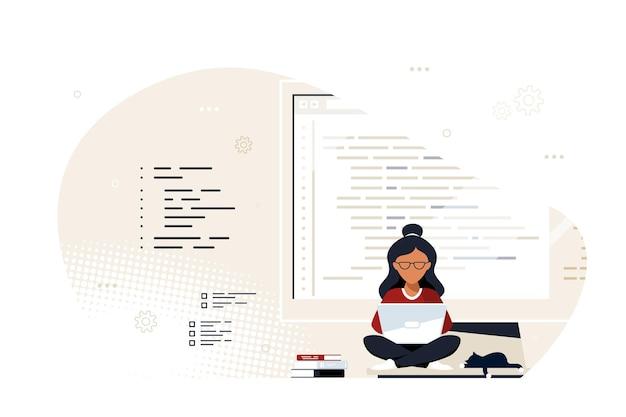 코딩, 프로그래밍, 응용 프로그램 개발 개념. 젊은 흑인 여성 프로그래머는 큰 컴퓨터 화면에 앉아서 일하고 있습니다. 평면 스타일 배너 디자인