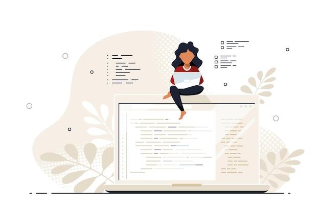 코딩, 프로그래밍, 응용 프로그램 개발 개념. 젊은 흑인 여성 프로그래머는 큰 노트북에 앉아서 작업합니다. 평면 스타일 배너 디자인