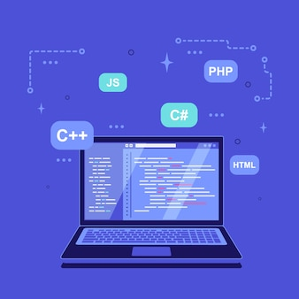 Coding, programming, application development concept