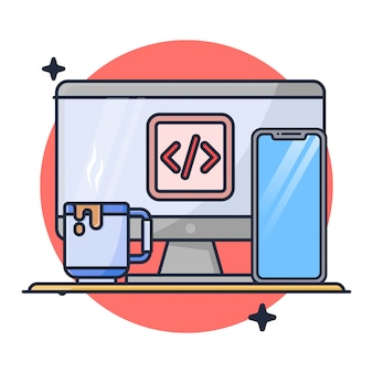 Coding with desktop and mobile phone illustration
