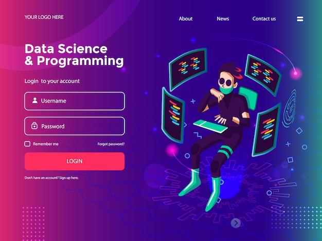 Наука о данных, программирование, разработка программного обеспечения, разработка игр, бизнес-график, аналитические данные и шаблон сайта coding