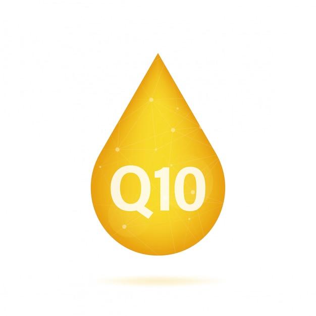코엔자임 q10. 골드 오일 아이콘입니다. 효소 방울 알약 캡슐. 재고 일러스트입니다.