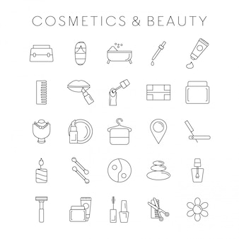 Coesmetic and beauty icons set