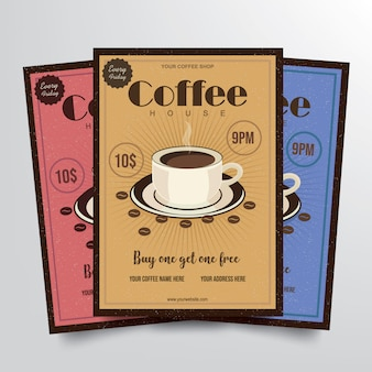 Cofee house flyer template vector