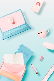파스텔 색 구성표 배경 벡터 일러스트와 함께 3d relistic 아트 스타일의 라파톱과 편지지가 있는 cofee