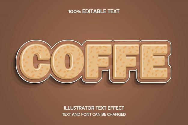 Coffe, 3d редактируемый текстовый эффект современный стиль тиснения