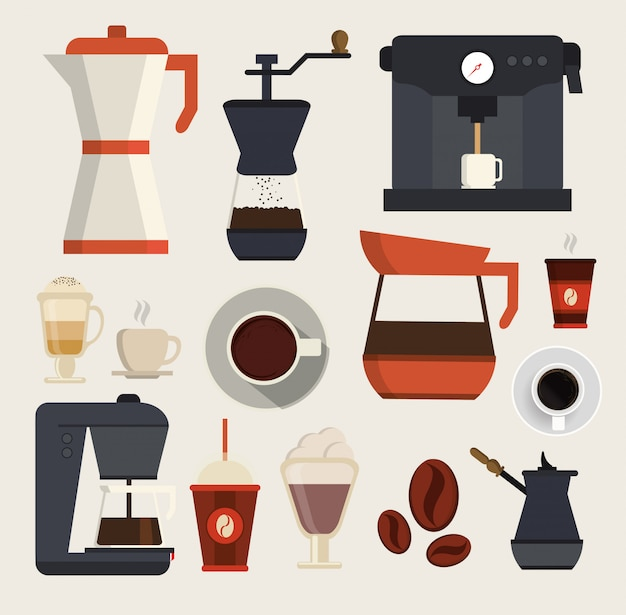 Coffe beverages icons vector
