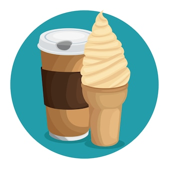 Coffe ice cream icon over blue background