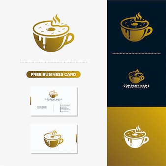 Coffe logo and business card vector template