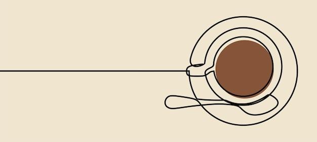 コーヒーマグミニマリズムワンラインアート連続線画プレミアムベクトル
