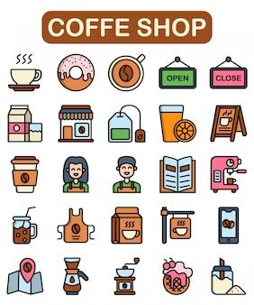 Coffe shop icons set, lineal color style