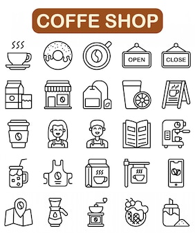 Coffe shop icons set, outline style