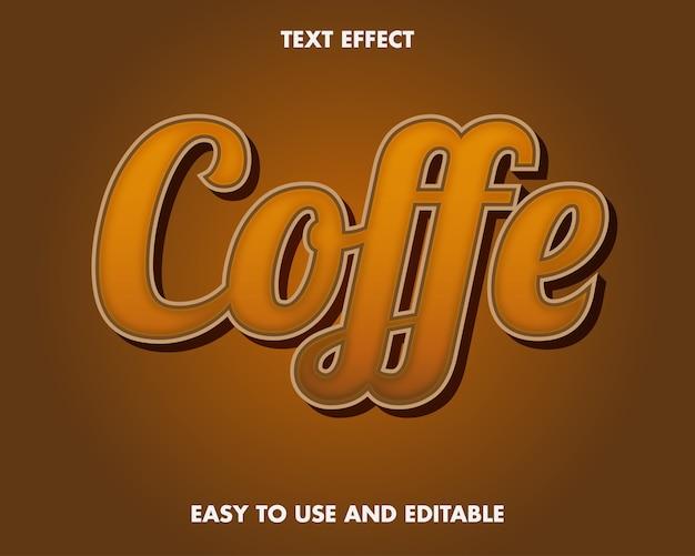 Эффект текста кофе. редактируемый стиль шрифта.