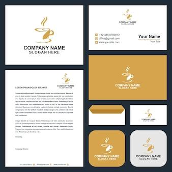 Кофе векторный логотип логотип и визитная карточка