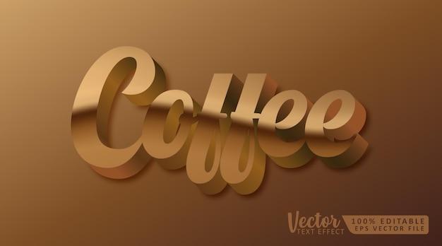 커피 3d 편집 가능한 텍스트 스타일 효과 모형 템플릿