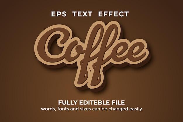 Редактируемый текстовый эффект кофе в стиле 3d premium векторы