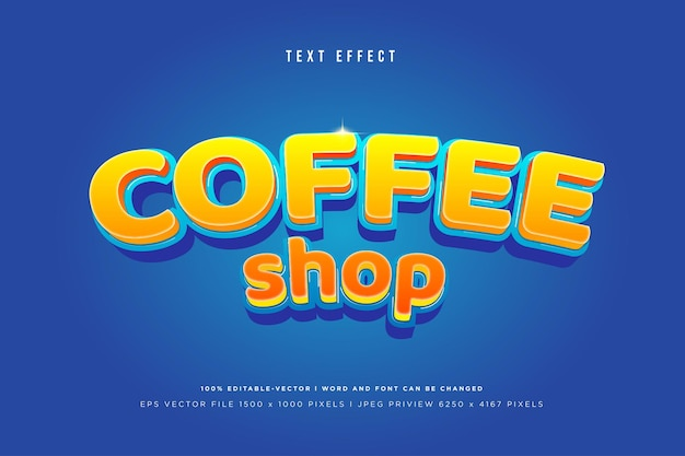Coffee 3d text effect on blue
