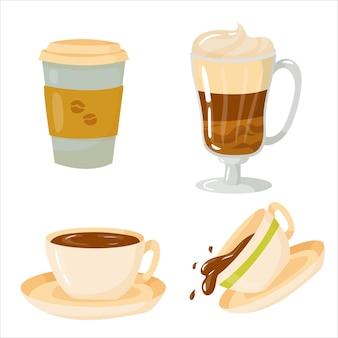 コーヒー。コーヒーハウスでニピトコフを準備するためのアイテムのセット。装飾要素。白い背景で隔離のベクトルイラスト。