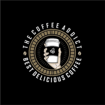 Coffee addict logo template