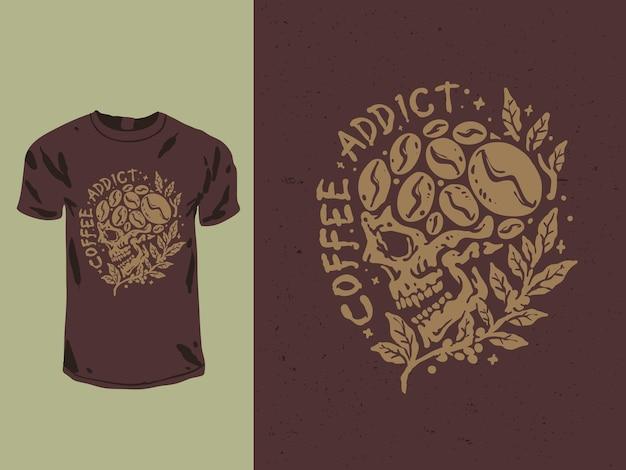 コーヒー中毒の頭蓋骨のtシャツのデザイン