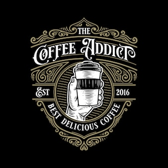 Coffee addict vintage retro logo template with elegant ornament