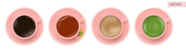 Coffee americano, black tea, latte, and matcha green tea in pink cup, top view