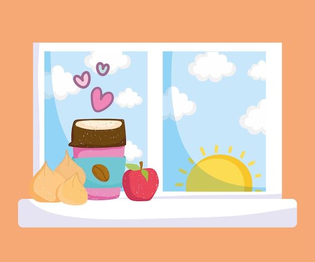 창에서 커피와 사과