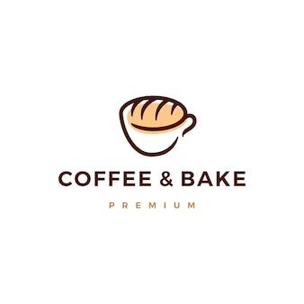 コーヒーと焼きパンのロゴアイコンイラスト