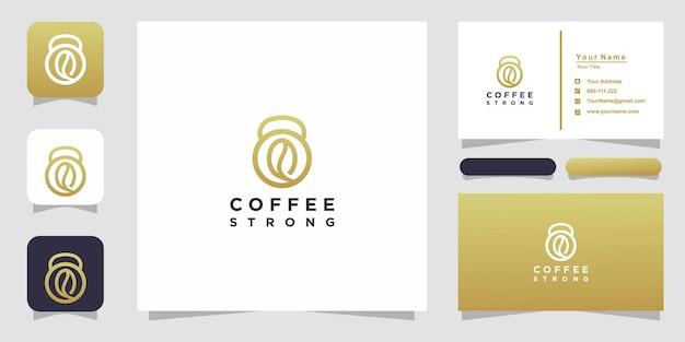 Кофе и штанга логотип и дизайн визитной карточки