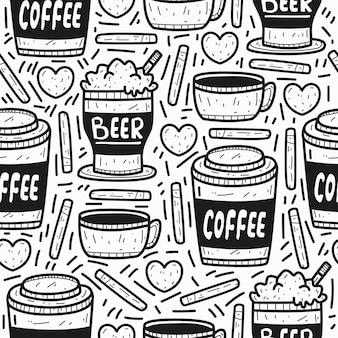 コーヒーとビールの落書き漫画のパターンデザイン
