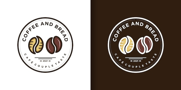 창의적인 스타일의 커피와 빵 로고 premium vector