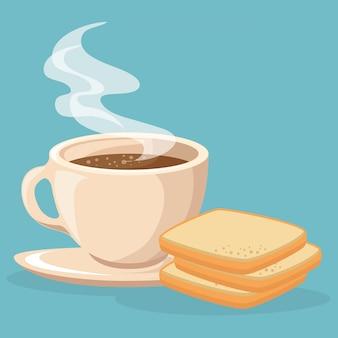コーヒーとパンのトースト