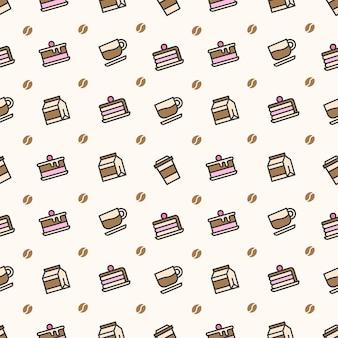커피와 케이크 원활한 패턴
