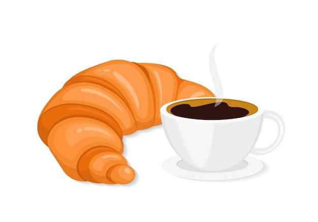 Кофе и круассан плоский французский завтрак изолированные клипарт
