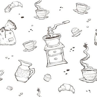 コーヒーとデザートのシームレスなパターン。白で隔離される食品要素