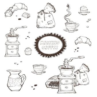 コーヒーとデザートセットのイラスト。白で隔離される食品要素