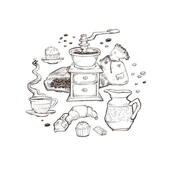 コーヒーとデザートセットのイラスト。分離された白の周りにある食品要素