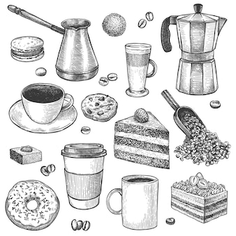 커피와 디저트. 커피 포트와 메이커를 스케치합니다. 컵, 케이크, 쿠키, 머핀, 도넛. 파이, 달콤한 아침 식사 빈티지 벡터 세트입니다. 음료를 만들기 위한 스쿱과 체즈베, 라떼 머그, 에스프레소