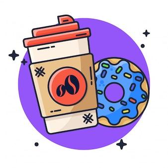 Иллюстрация кофе и пончики