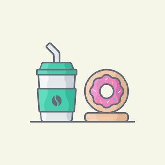 Кофе и пончики векторные иллюстрации