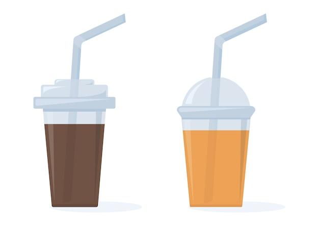 커피와 오렌지 주스. 빨대가 달린 플라스틱 컵. 삽화