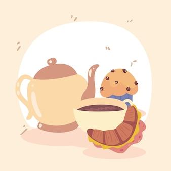 Значки кофе и кондитерских изделий