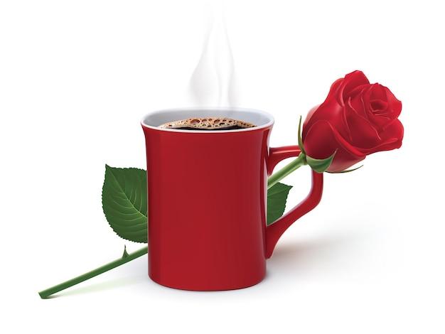コーヒーとバラのイラスト
