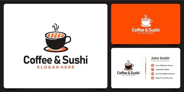 Логотип комбинации кофе и суши с шаблоном визитной карточки