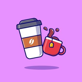 コーヒーとお茶の漫画のベクトル図です。食べ物や飲み物の概念分離ベクトル。フラット漫画スタイル