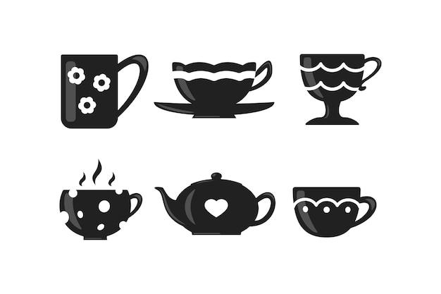 コーヒーとティーカップのセット。ティータイムマグカップアイコン。
