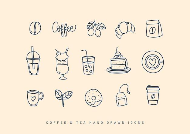 Кофе и чай рисованной коллекции иконок
