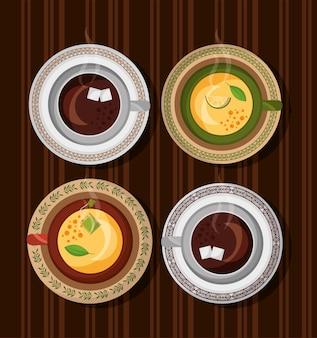 木製のテーブルにコーヒーとティータイムセットカップ